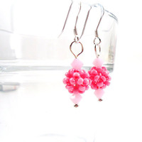 Pink Beadwoven Earrings Feminine Pink Rose by PeriwinkleParadise