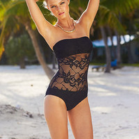 Kenneth Cole Swimsuit, Lace Bandeau One-Piece - Womens Swimwear - Macy's