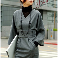 Elegant V-neck Frills Long Trumpet Sleeves Puff Dress For Women China Wholesale - Sammydress.com