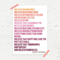 I Believe Audrey Hepburn Archival Print A4 (Pink and Orange)