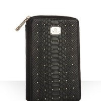 Rebecca Minkoff black snake embossed leather &#x27;Bookworm&#x27; e-reader case | BLUEFLY up to 70% off designer brands