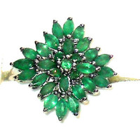 2.75ctw Genuine Natural Emerald Ring in Sterling Silver Size 7