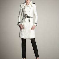 Burberry Prorsum - Cable-Knit Trenchcoat & Leather Tie Belt - Bergdorf Goodman
