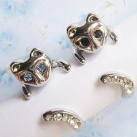 SALE - Buy 1 get 1 Free - Beautiful Cat Rings with blue/black/white crystals.