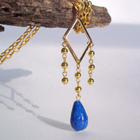 VINTAGE Upcycled 1970&#x27;s Gold Diamond Shape Necklace with Blue Lapis Howlite Drop, Gypsy, Egyptian, Cleopatra Necklace, Statement Necklace