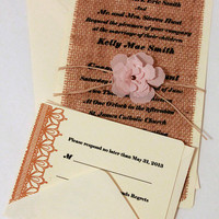 Burlap Invitation, Cottage Chic Invitation, Rustic Wedding, Shabby Chic Invitation, Burlap Wedding Stationary, Burlap Wedding Decor