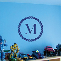 Wall Decal Personalized Monogram Rope 22 inch Vinyl Wall Art Stickers