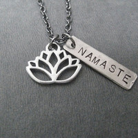 LOTUS FLOWER NAMASTE Yoga Necklace - Yoga Jewelry - Lotus Flower Necklace - Namaste Necklace on 18 inch gunmetal chain - Yoga Necklace