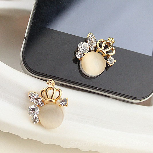 1PC Bling Crystal  Alloy Crown wChampine Cat's Eye Apple iPhone Home Button Sticker, Cell Phone Charm