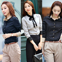 Korean Style Women OL Long Sleeve Slim Cotton Career Collar Shirt Blouse Tops