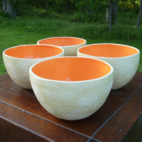 large Cantaloupe bowls Set of 4 by vegetabowls on Etsy