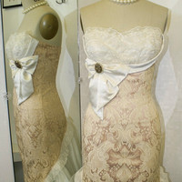 Cream Brocade Wiggle DressCocktailBridal Custom by Morningstar84