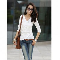 Elegant V-Neck Fold Style Quarter Sleeves Cotton T-Shirt For Women China Wholesale - Sammydress.com