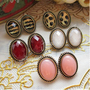 Wholesale Lots Lady Retro Vintage 1 Pairs Earing Stud Set Ear Lepoard Dot Strip