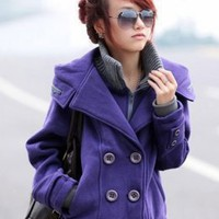 Korean Fashion Purple Quality Fleeces Coats : Wholesaleclothing4u.com