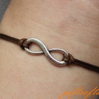 Infinity Bracelet-Antique Silver Karma Braclet, Infinity Wish Bracelet ,Dark Brown Snakeskin Rope Bracelet for Friends-W217
