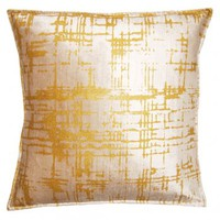 Yellow metallic velvet pillow |  Shop Ten 25