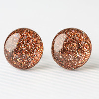 Chestnut Confetti Sparkle Post Earrings