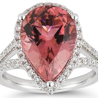 European Engagement Ring - Pear Shape Tourmaline & Diamond Ring 14kt White Gold - ER267