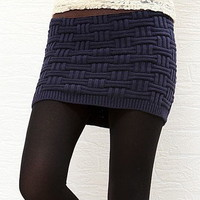 Womens Knitting Wool Lattice Short Skirt High Elasticity Warm Thickened Woolen Yarn Skirt