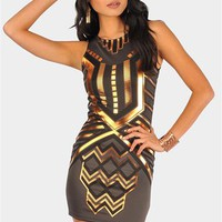 Katness Metallic Dress - Charcoal at Necessary Clothing