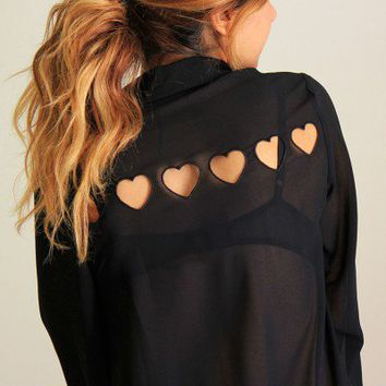 Tiny Hearts Cut Out Blouse