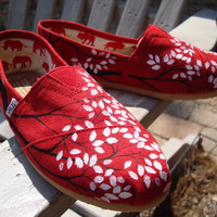 Branching out in red painted on TOMS shoes by ArtfulSoles on Etsy