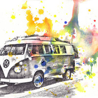 Retro Vintage Art Volkswagen Vw Van Bus Poster Print From Original Watercolor Painting 13x19&quot; Poster Print
