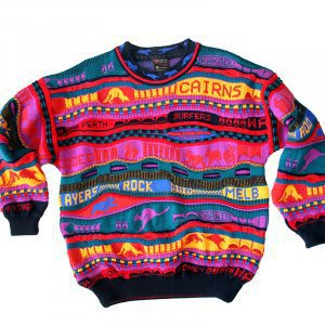 Emaroo Australia Kangaroo Bright Textured Cosby Style Tacky Ugly Sweater Men's Size Medium (M)