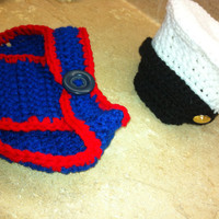 Marine Blues Hat and Diaper Cover