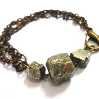Triple Raw Geometric Pyrite Gold Crystal & Mixed Chain Bracelet by AstralEYE