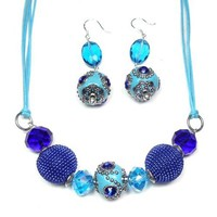Long Teal Blue Boho Necklace Earrings Set Cotton Glass Kasmiri Silver