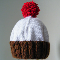 Hand Knit Baby Cupcake Hat in Brown, Red & White