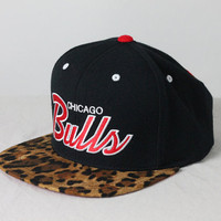 Custom Chicago Bulls Snapback -- Cheetah Print Bill
