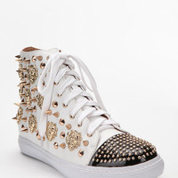 Jeffrey Campbell Lion-Stud Leather High-Top Sneaker