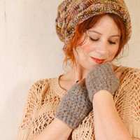 Woman grey mittens Woman grey gloves Fingerless gloves Alpaca mittens Woman knit gloves Wool mittens woman Knit gloves woman