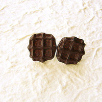 Cute Food Earrings Chocolate Waffle Earrings by SouZouCreations