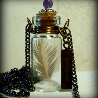 Glass Vial Necklace Glass Bottle Necklace Stamped by KarmaBeads