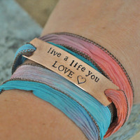Hand Stamped 100% Silk Multicolored Wrap Bracelet - Add Names, Date or Phrase of your choice