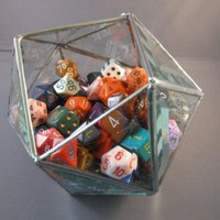 d20 5 inch dice bowl in beveled glass