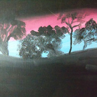 Tree Silhouettes Painting with Pink and by TheTravelingOwlShop