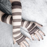 Basalt Arm Warmers - Dark Charcoal Heather Grey & Ivory Cream Striped Cotton - Gothic Yoga Cycling Running Emo Vampire Unisex Goth Gypsy