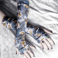 Passerine Arm Warmers - Grey Blue White Pale Yellow Ochre Brown Sparrows in the Forest - Yoga Gothic Tribal Steampunk Noir Gypsy Boho Autumn