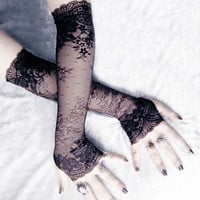 Elegy Extra Long Arm Warmers -  Black Lace Floral Scroll Scalloped Sleeves - Dark Charcoal Grey Accent - Vampire Wedding Fetish Opera Bridal