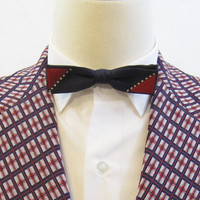 50s Bow Tie Vintage Red White and Blue Geometric Rayon Clip-on