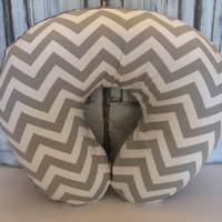 Grey and White Chevron Print with Minky Boppy Cover