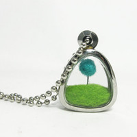 Terrarium Lorax Locket, Pom Pom Truffula Tree on Green Grass Hill Needle Felted , Silver Finish Fun Gift Idea
