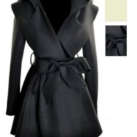 Amazon.com: SZ Beige Black Womens Hooded Trench Coat Outerwear Top & Hoodie Jacket Dress: Clothing