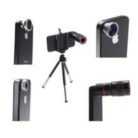 Cool Stuff - AGPtek® 4 in 1 Camera Lens Kit for Apple iPhone 4 (8X Black Telephoto Lens, Fish Eye Lens, Wide Angle + Micro Lens) Plus Tripod and Hard Case