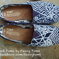 Handpainted Custom Toms Shoes - Patchwork